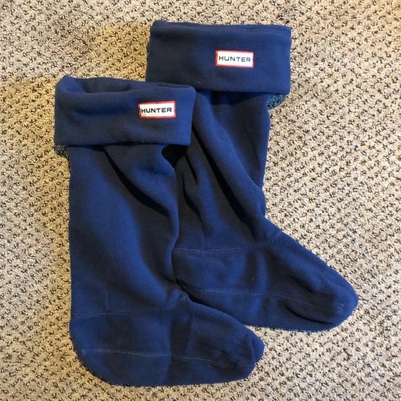 hunter Kids Navy Fleece Welly Socks-Medium